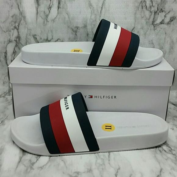 6fa0fda519fa NEW Tommy Hilfiger Earthy White Slides Sandals 11